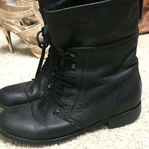 J. Crew Combat Boots. Black leather.